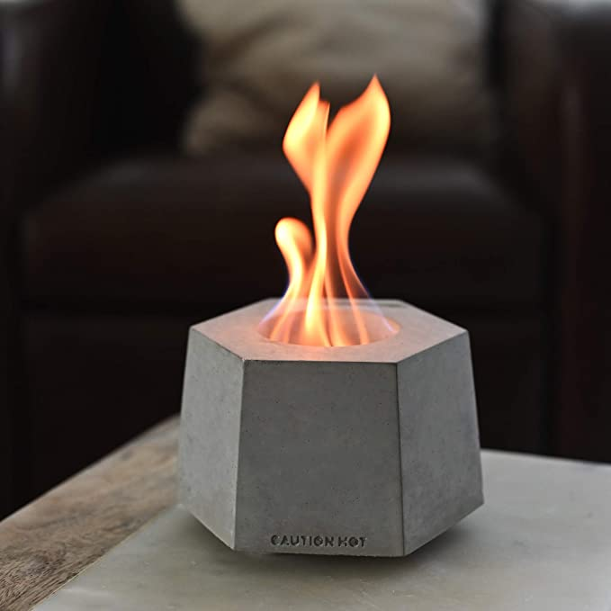 COLSEN Hex Small Tabletop Bio Ethanol Rubbing Alcohol Fireplace Indoor Outdoor Fire Pit Portable Fire Concrete Bowl Pot Fireplace