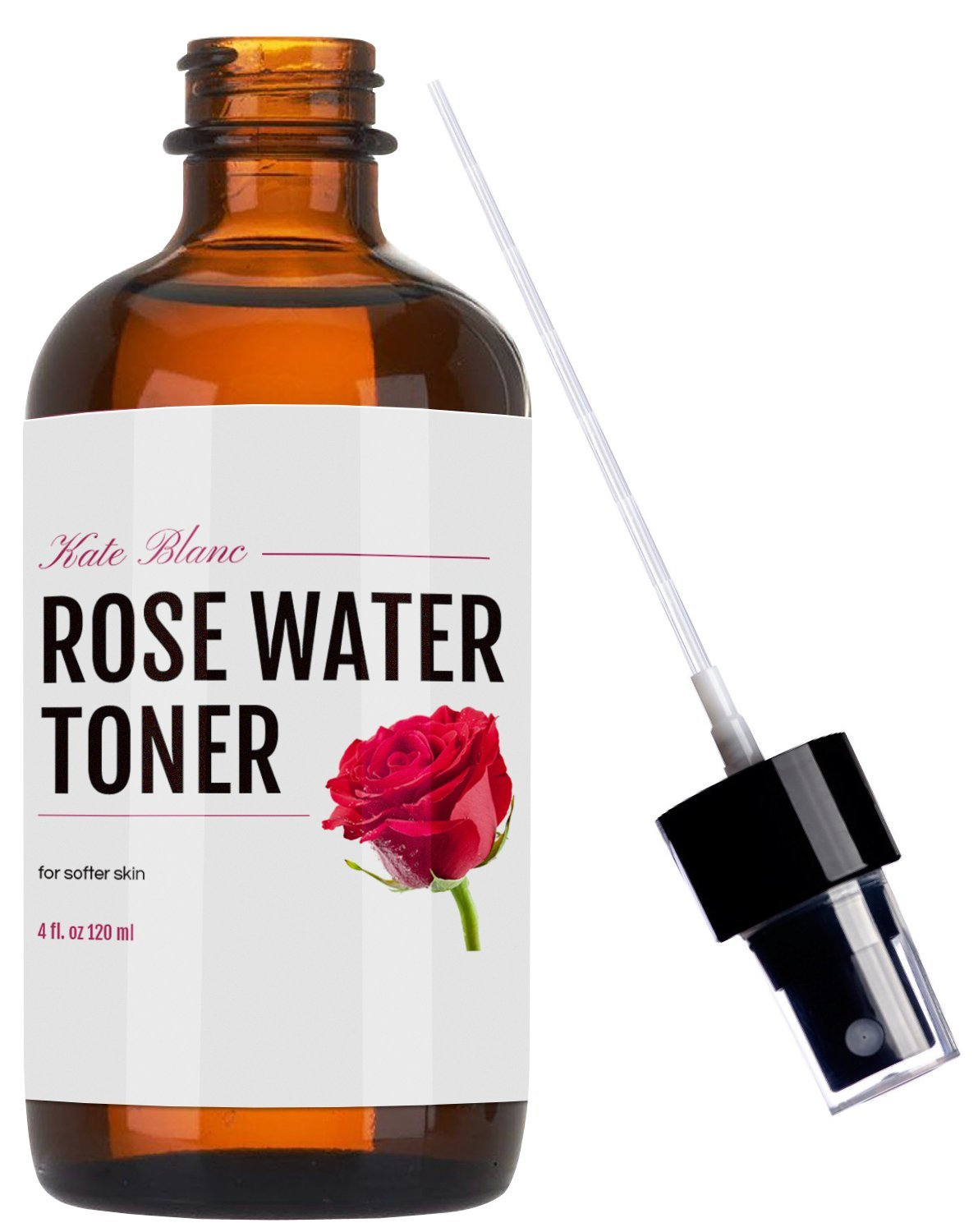 Rose Water Facial Toner & Spray (4oz) by Kate Blanc. Alcohol Free. Chemical Free. Instant Freshness for Face. Natural Astringent. Makeup Remover. Hydrating Face Mist to Reduce Red Spots. Softer Skin.
