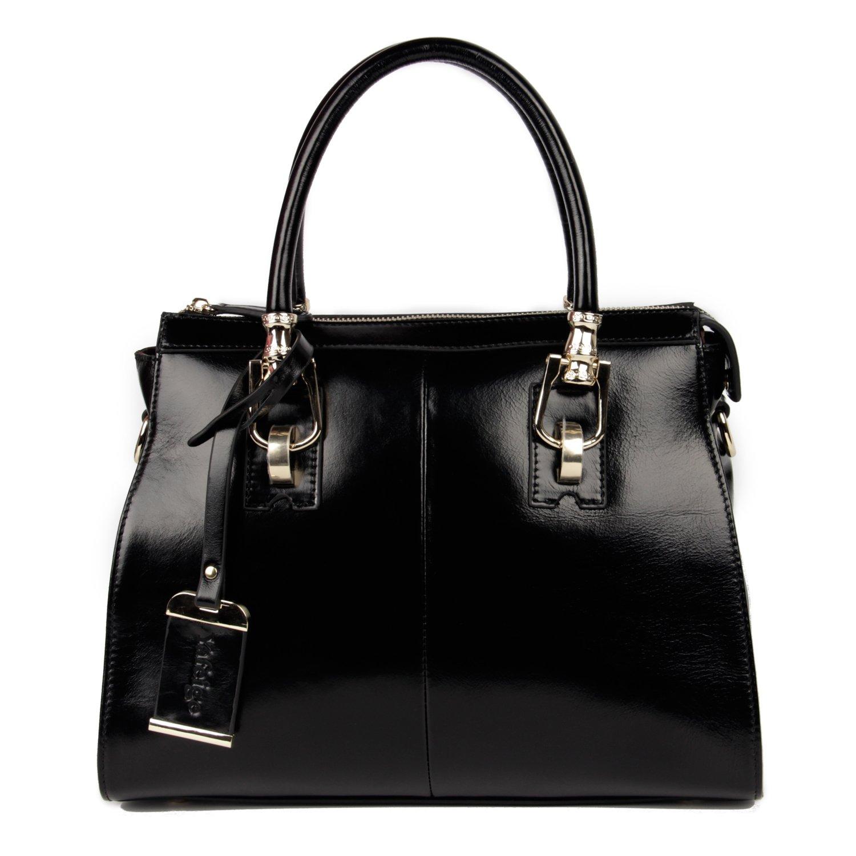 0375da67c22b Amazon.com  Yafeige Womens Lady s Handbag Vintage Luxury Wax Genuine Leather  Tote Shoulder Bag Satchel Purse(Black)  Clothing