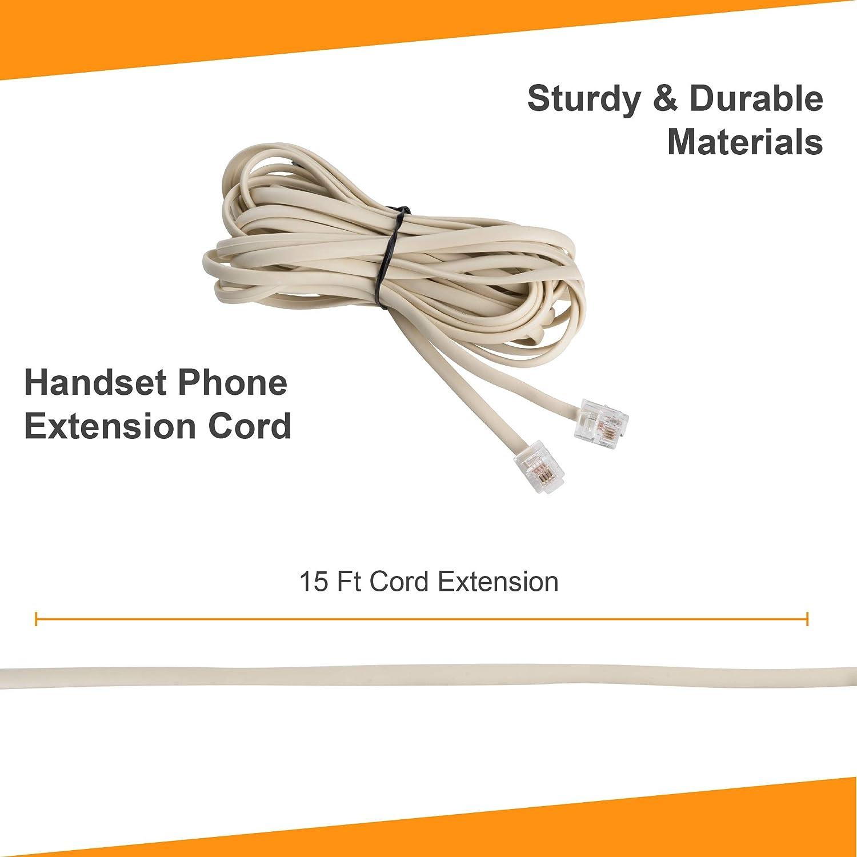 Telephone Line Cord Extension Bone Ivory 15ft