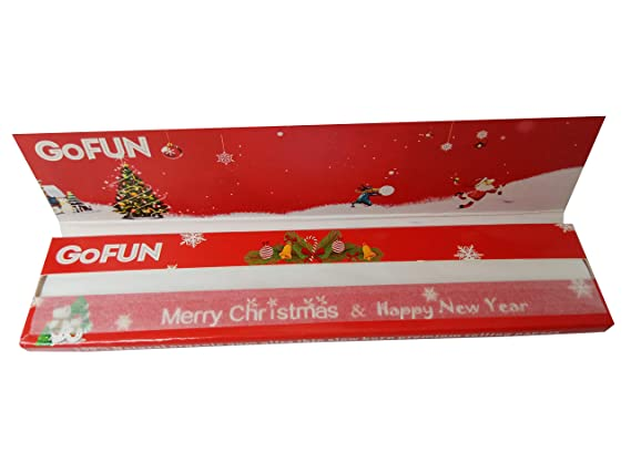 Merry Christmas Kingsize Rice Rolling Papers Pack of 4 GoFun Red