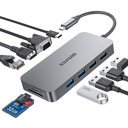 Amazon.com: EUASOO - Hub USB C, adaptador 10 en 1 con ...