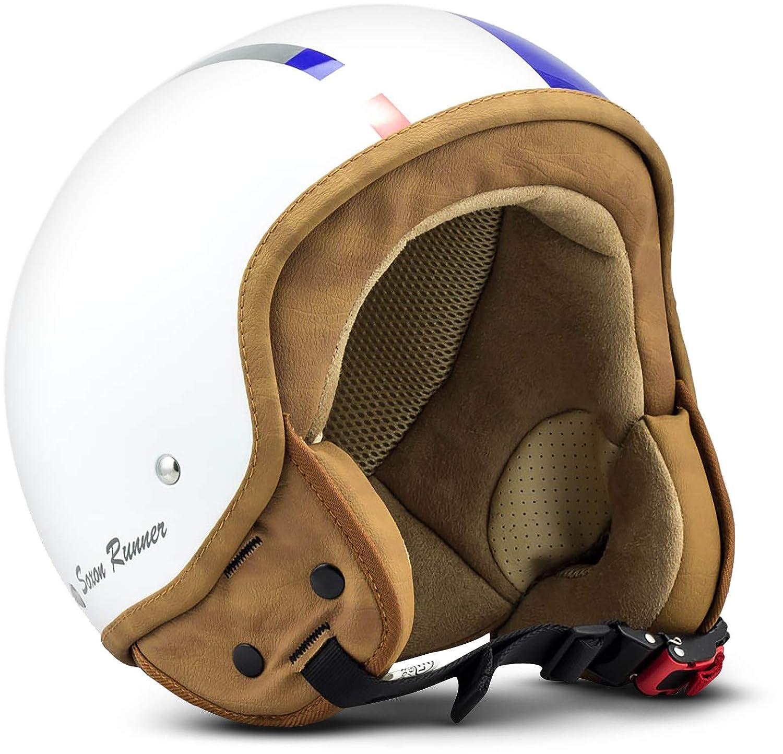 M 57-58cm Stofftragetasche inkl SOXON SP-301 Snow Motorrad-Helm Roller-Helm Jet-Helm Bobber Scooter-Helm Pilot Cruiser Vintage Mofa Chopper Helmet Biker Vespa-Helm Retro Wei/ß ECE zertifiziert Snow