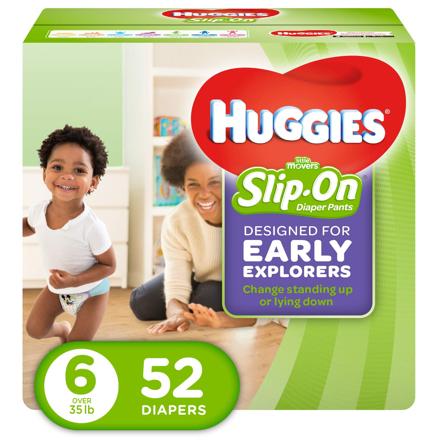 Huggies Little Movers Slip-On Diapers, Size 6, 52