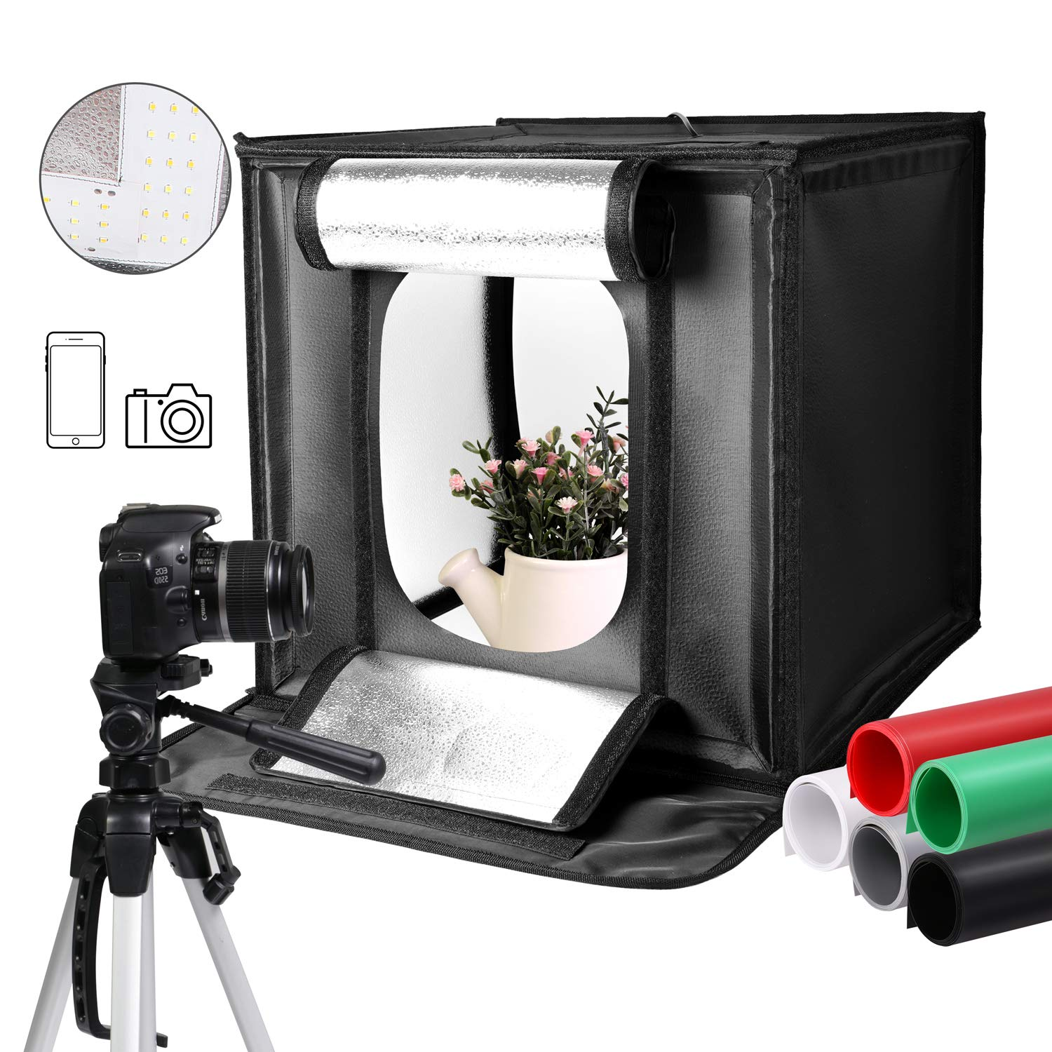 SH Photography Light Box 40 x 40 cm /16 x 16 Inch Adjustable Brightness 5500KRing Continuous Lighting LED Light Portable Foldable Shooting Tents Kit 5 Color Background by SH