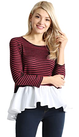 3bf3e5e292a Womens Striped Dressy Top 3 4 Sleeve Reg and Plus Size Peplum Shirt with  White