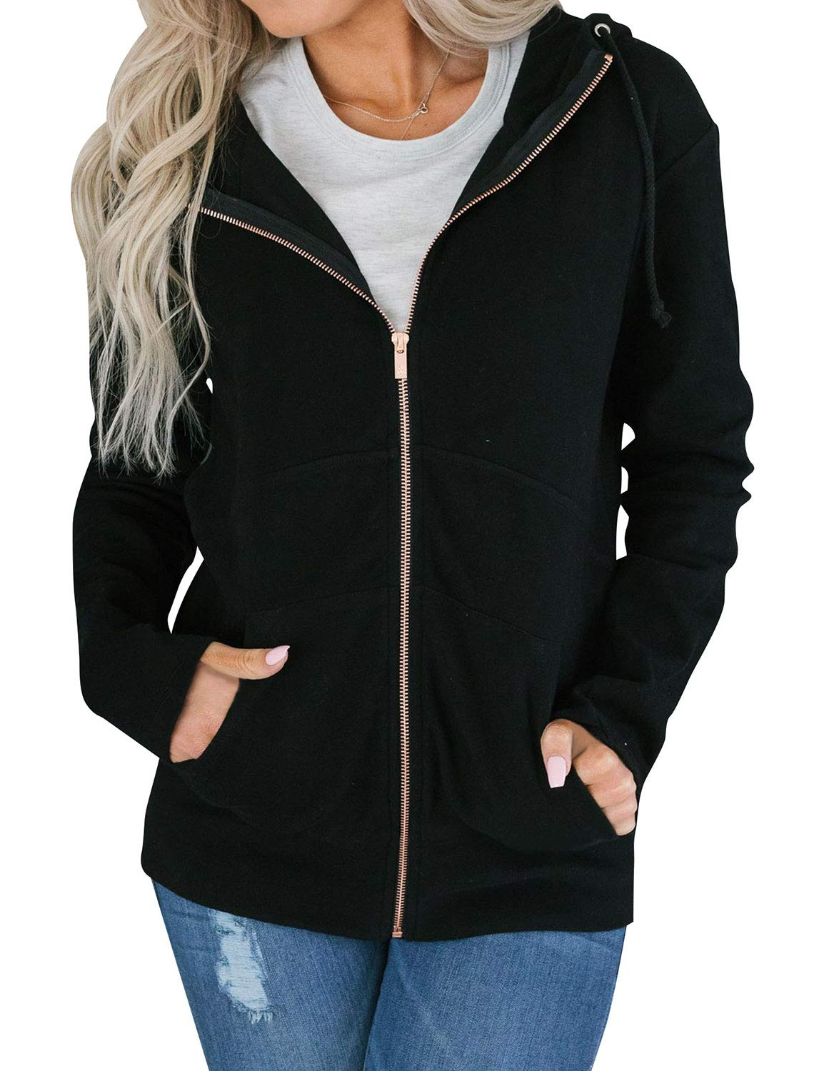 Nlife Women Solid Color Hooded Sweatershirts Long Sleeve Full Zip Top Outwear Coats