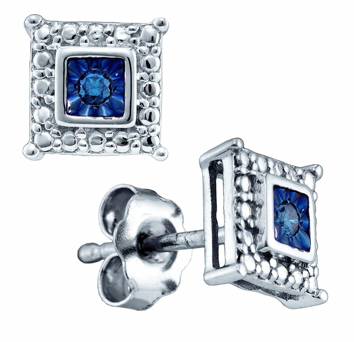 925 Sterling Silver Round Cut Blue Diamond - Square Princess Shape Milgrain Prong Set Studs Earrings with Secure Push Back Closure - (.05 cttw.)