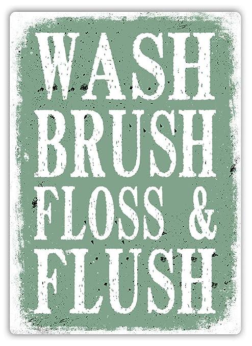 Wash Brush Floss Flush Green Póster de Pared Aluminio Metal ...