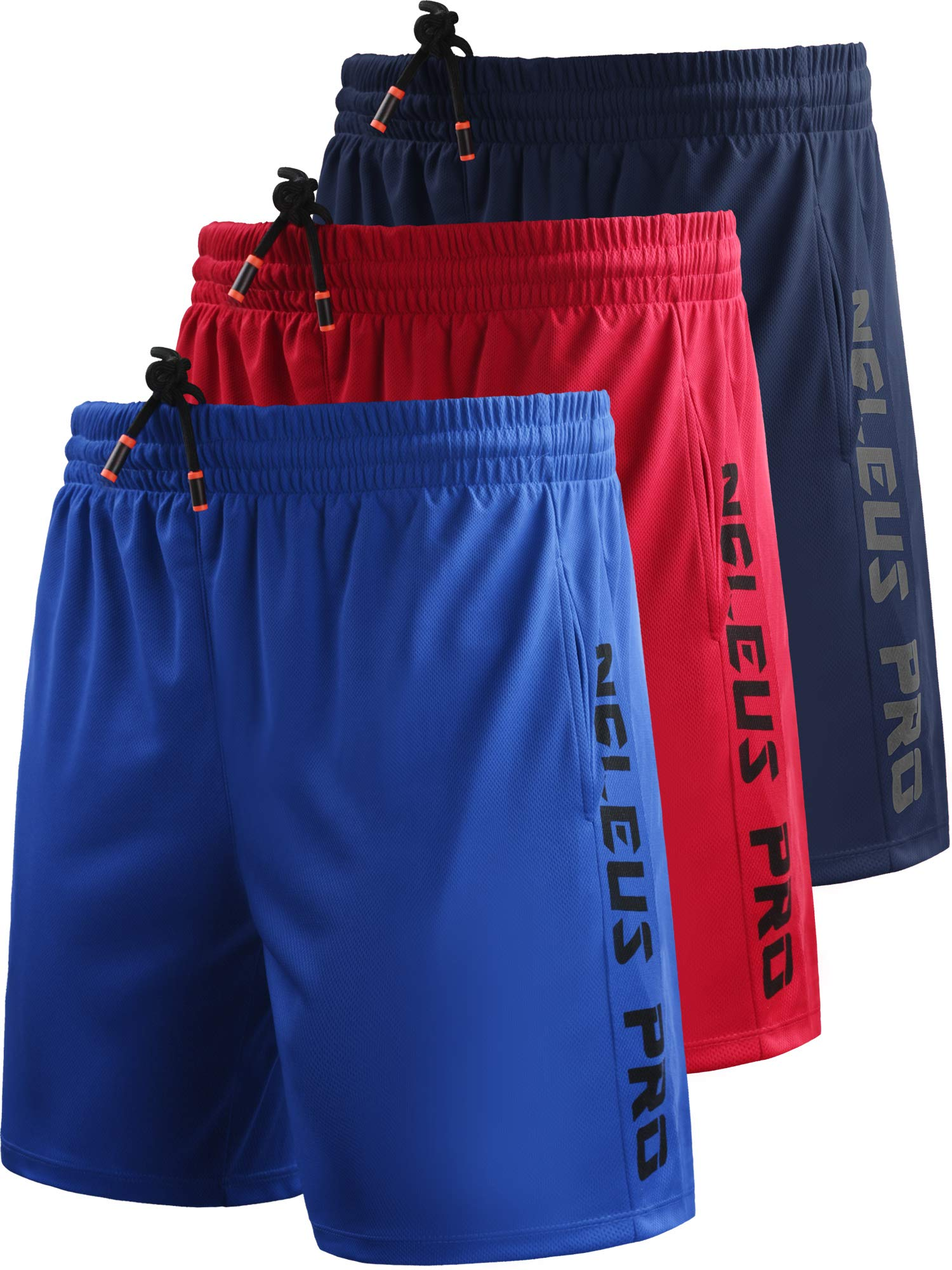 Neleus Men's 7'' Workout Running Shorts with Pockets,6056,3 Pack,Blue,Navy Blue,Red,S,EU M