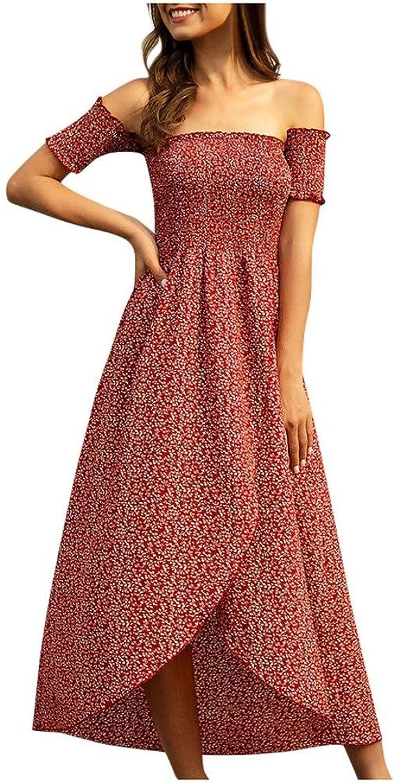 Aini Vestido de Verano 2020 para Mujer,Vestido Estampado Vintage de Largo Vestido Bohemia de Fiesta Vestido de Playa Cuello en V Talla Split Wrap Maxi Vestidos