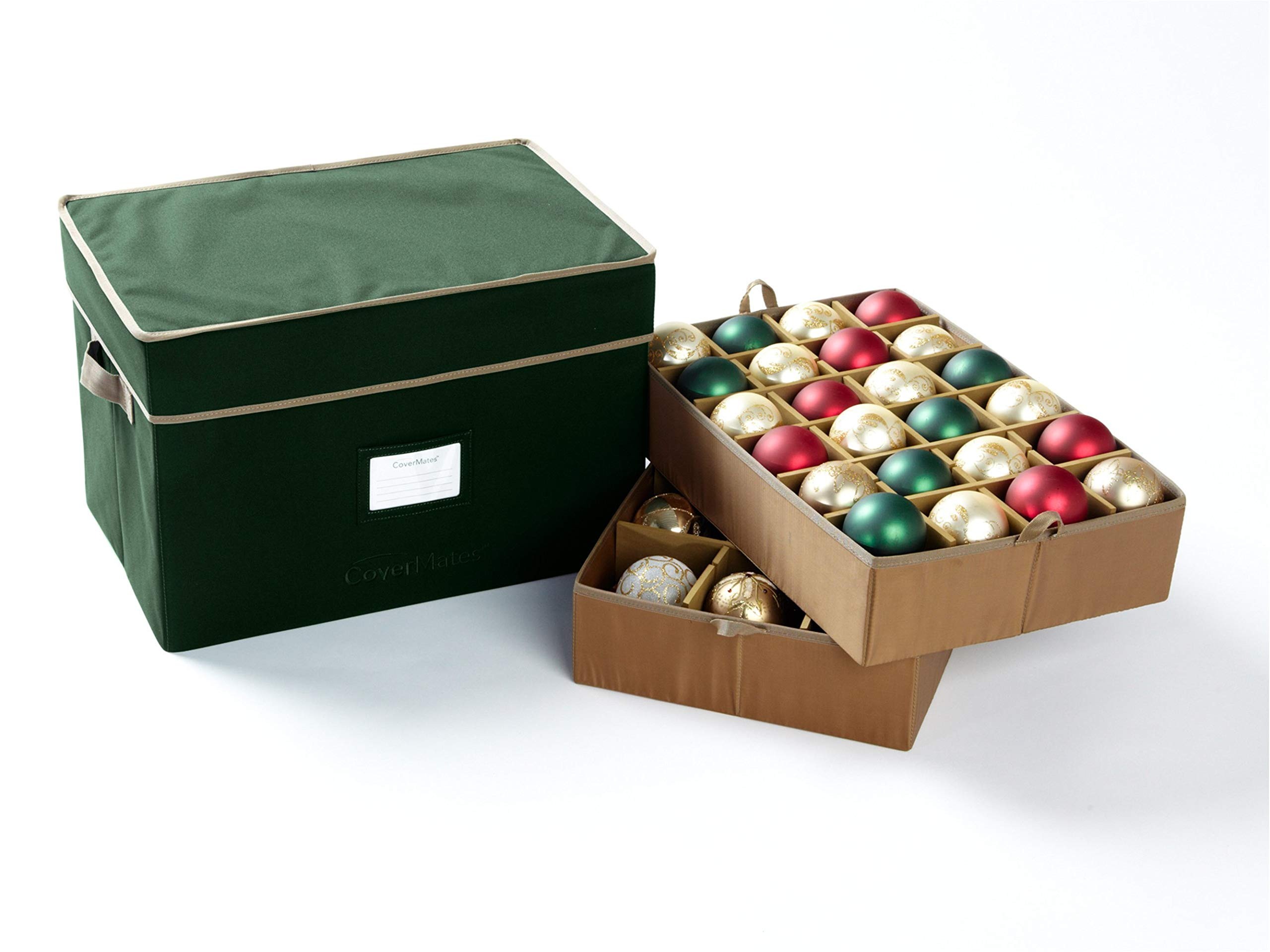 CoverMates – Holiday Adjustable Ornament Storage Box – Holds 36 to 72 Ornaments – 3 Year Warranty- Green