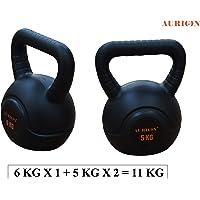 Aurion KETTLEBELL-5KG X 1 + 6KG X 1 Home Gym Set Kettlebells, 11 Kg Set of 2 (Black)