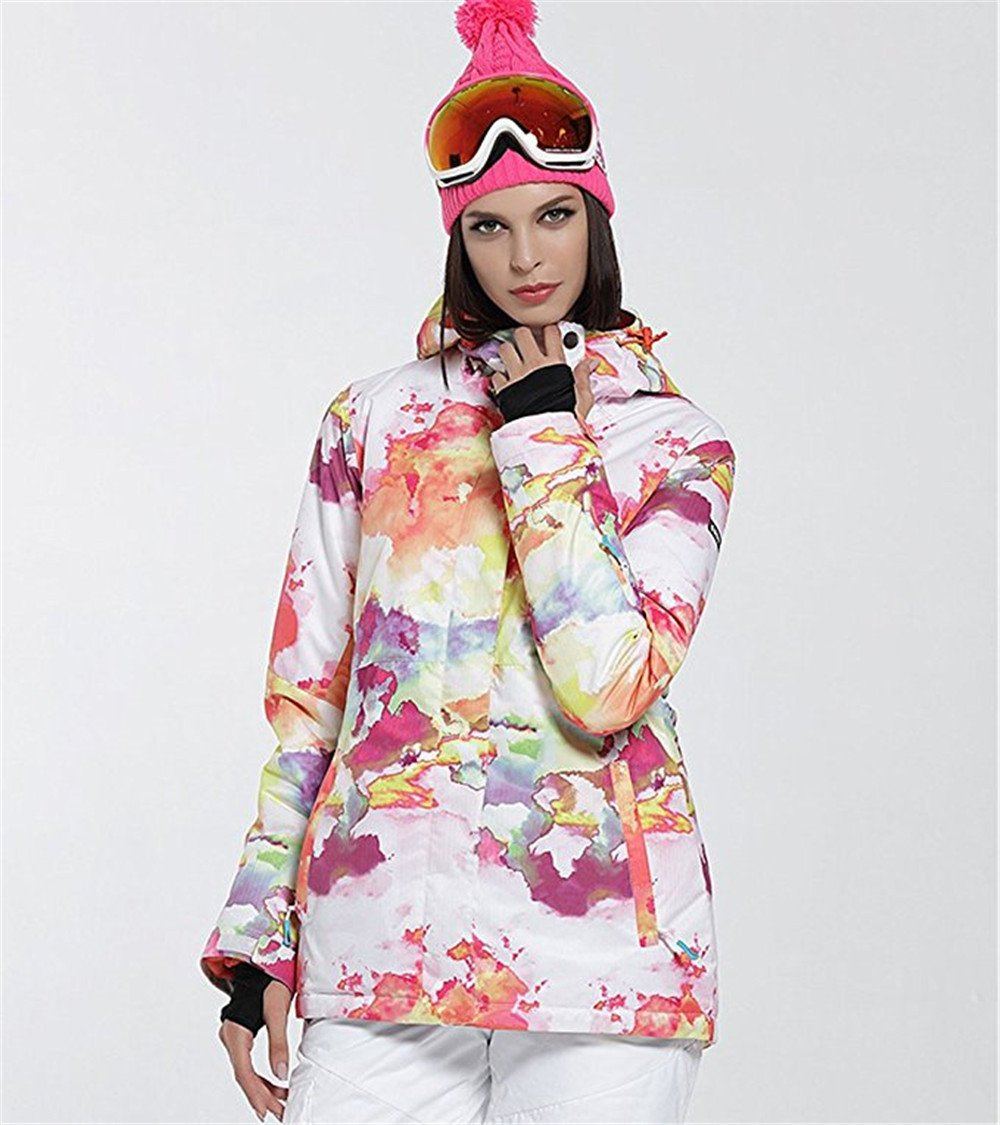 Women's High Breathable Waterproof and Windproof colorful Snowboard Printed Ski Jacket by RIUIYELE (Image #6)