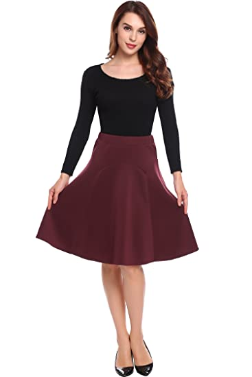 a335a3cff3 Chigant Pleated Midi Skirt, Red Mid Knee Length Vintage Flare Swing Dance  Skirts for Women