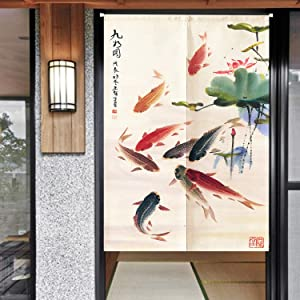 """Ofat Home Chinese Traditional Painting Doorway Curtain Carp Kio Ink Painting Take You Good Luck Cotton Linen Ink Painting 33.5""""x 59"""" Door Curtain for Home Decor …"""
