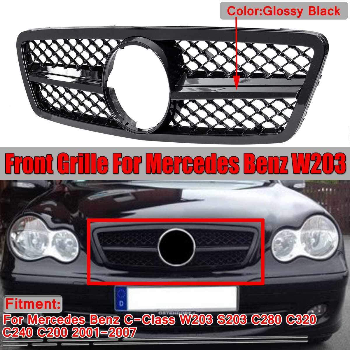 AniFM Parrilla Delantera del Coche AMG Style Grill para Mercedes Benz Clase C W203 S203 C280 C320 C240 C200 2001-2007