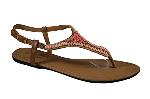 e5c28c944ba Charles Albert Women s Beaded Thong Sandal with Adjutable Ankle Strap in  Coral Size  5