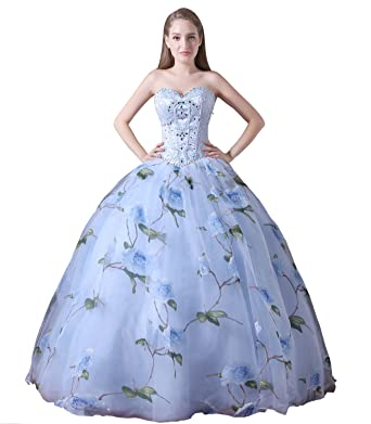 ac3a740a67 Ikerenwedding Women s Sweetheart Beaded Flowers Print Tulle Prom Ball Gown  Blue US2
