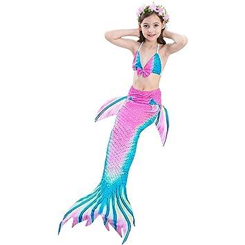 Surenhap Bikini Traje de Bano Cosplay Traje de baño Brillente Glitter Sirena Shell Traje de baño para Muchachas y Niña - (110CM?Rosa y Verde)