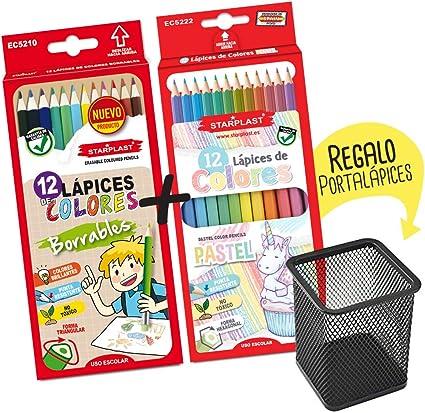 Starplast Pack Borrable de 12 Làpices de Colores, Borrables y 12 Lápices de Colores Pastel con Portalápiz de Regalo, 12 Colores Básicos, 12 Colores Pastel para Uso Escolar.: Amazon.es: Oficina y papelería