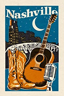 product image for Nashville, Tennessee - Woodblock (9x12 Art Print, Wall Decor Travel Poster)