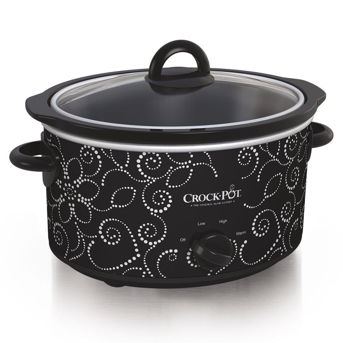 Crockpot Manual Slow Cooker, 4 quart, Black White
