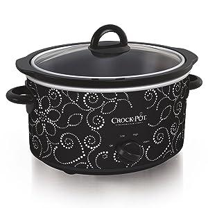 Crockpot Manual Slow Cooker, 4 quart, Black/White