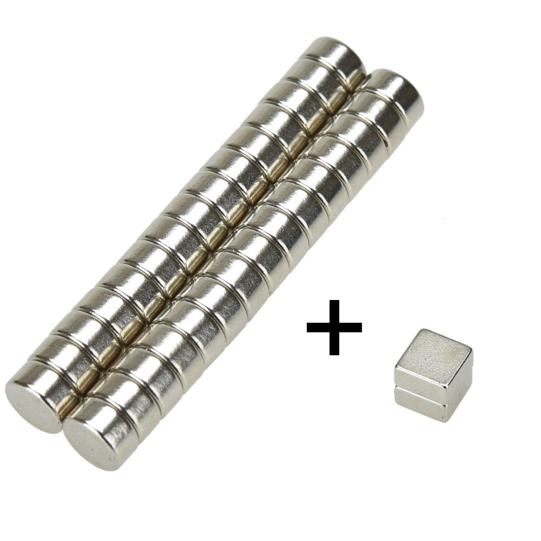 eLander- 32 Mini Magnete, ultrastark - 6x3mm(30 Stücks -Zylinder) +  6x6x3mm(2 Stücks - Würfel) - NEODYM - Das Original: Amazon.de: Bürobedarf &  ...