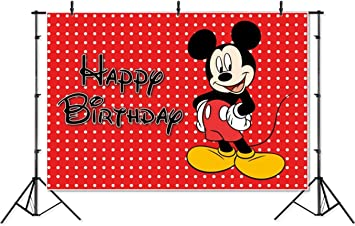 Amazon Com Photography Backdrop 7x5 Red Background Black Mickey Mouse Happy Birthday Photographic Background Banner Camera Photo