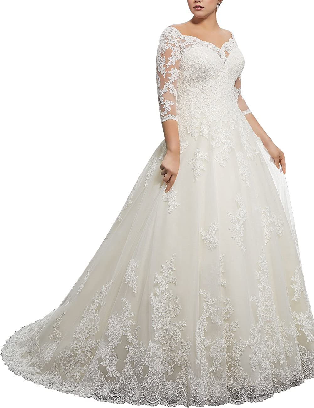 Women's V Neck Long Sleeves Lace Applique Plus Size A Line Wedding Dress
