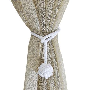Baihoo Set of 2 Cotton Rope Monkey Fist Knot Tie-Backs, Drape Holdbacks, Curtain Tiebacks, White