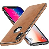 iPhone X Leather Case, iPhone X Case MIRACASE Luxury Leather Ultra Slim Thin Soft TPU Bumper Anti-Slip Scratch Resistant Shockproof Drop Protective Cover Case for Apple iPhone X/ iPhone 10, Brown