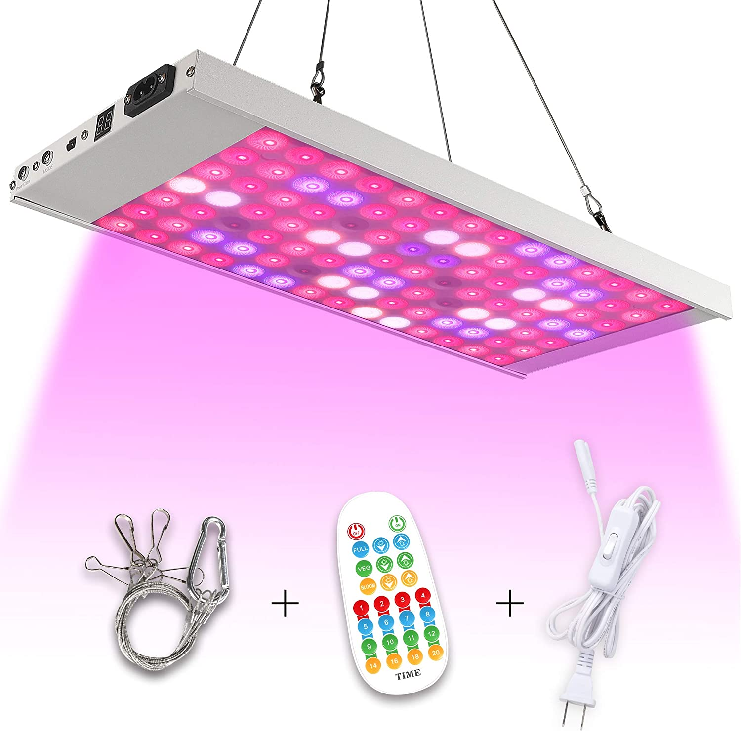 Koopower LED Grow Light,Full Spectrum Panel Grow Lamp with Timer and Remote Control,Hanging White Grow Light for Indoor Hydroponics Greenhouse Plants Veg and Bloom (Dimmable)