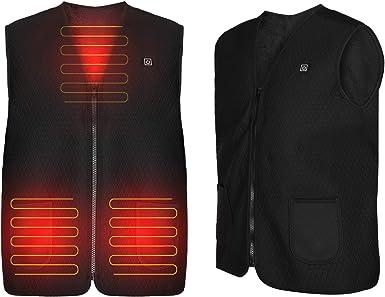 pesca negro Brynnl Chaleco caliente calentado camping chaqueta el/éctrica con calefacci/ón para mujeres y hombres carga USB calentador de ropa para caza