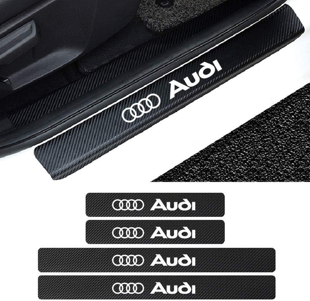 3.2cm LAUTO 4pcs Carbon Fiber Door Sill Sticker Scuff Plate Cover Anti Scratch Car Door Sill Cover Scuff Plate Protector Sticker for Audi A4l A3 A6L Q5L Q3 X3,Red,46.5