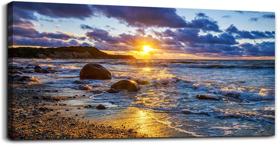 canvas wall art for living room bedroom Wall Decor blue ocean landscape painting Hang Home Decoration office bathroom kitchen sun beach sea golden Waves on the beach canvas art Prints pictures Works
