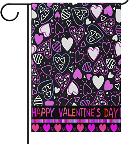 Amazon Com Valentine S Day House Flag 28 X 40 Double Sided Valentine Hearts Purple Love Garden Yard Flags Welcome Spring Outdoor Indoor Banner For Wedding Party Home Valentines Day Decorations Garden Outdoor