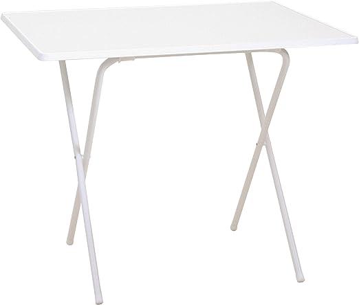 Mesa con patas plegables en tijera, color blanco, mesa de camping ...