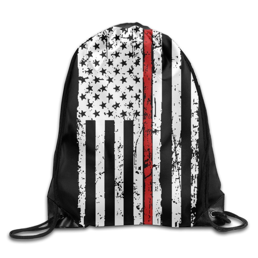 Thin Red Line American Flag Honoring Firefighters Drawstring Backpack String Bag
