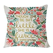 Though she Be but Little she is Fierce Polyester Soft Zippered Cushion Throw Case Pillow Case Cover 18 x 18 Inches