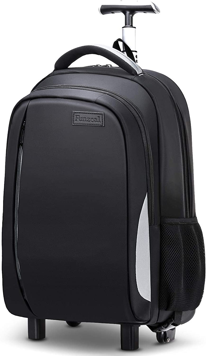 Funzeal Large Rolling Backpack,Carry-on Luggage Backpack Fits 17-Inch Laptop for Business/Travel, Waterproof Wheeled Laptop Backpack for College School Students,Black
