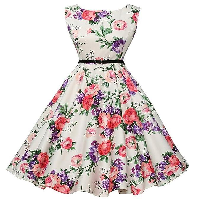 Oudan Señoras sin Mangas Rockabilly 50s Vintage Retro Vestido Falda Plisada Flor Impresa Vestidos de Verano