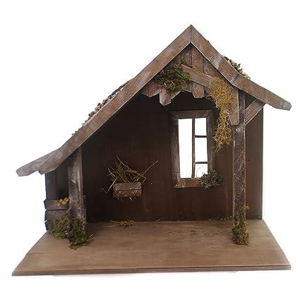 Amazoncom Marolin Wooden Stable Wwindow Wood Nativity German