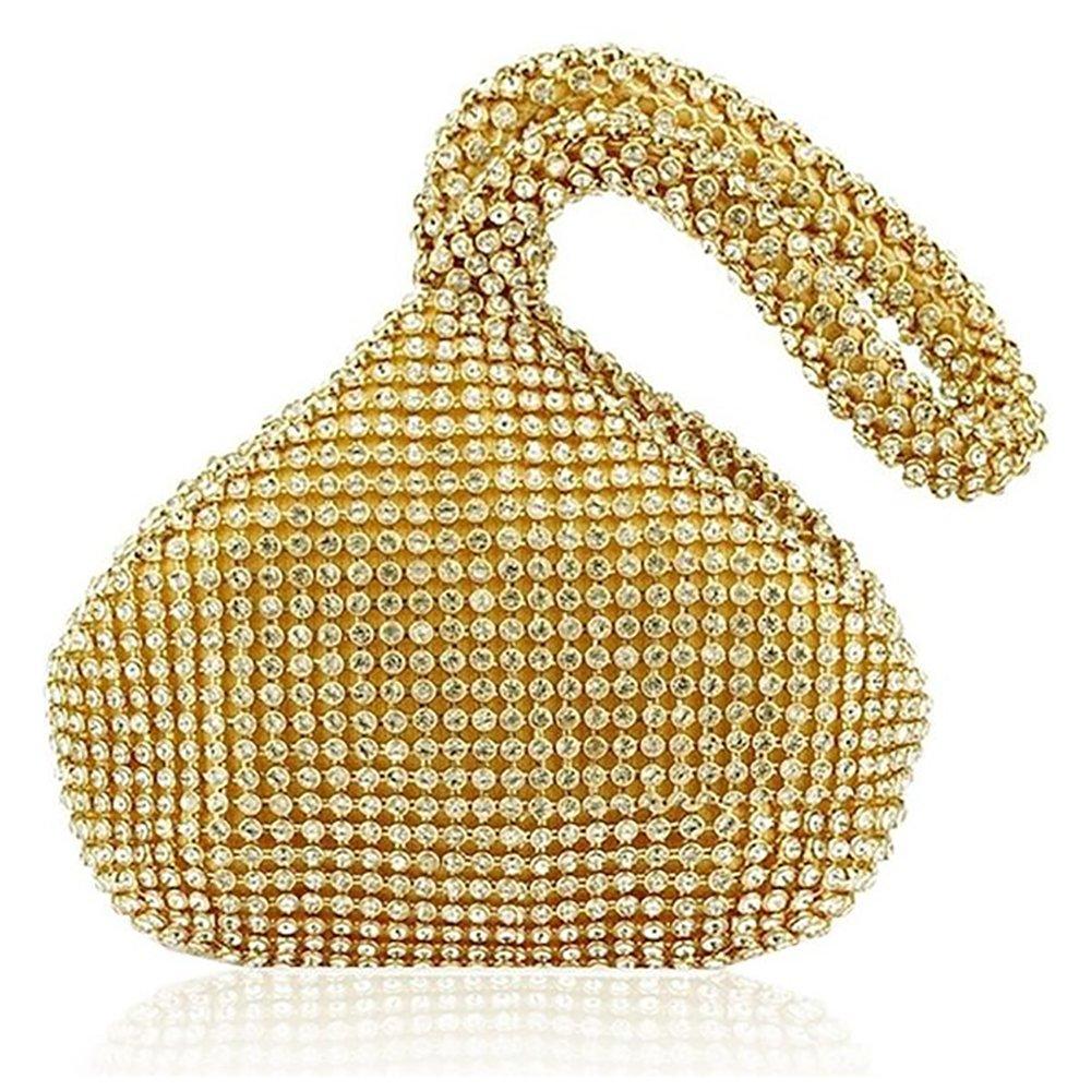 Wocharm Womens Lady Girl Gold Silver Diamonds Crystals Evening Bag Clutch Purse Party Wedding Prom Pouch Handbag