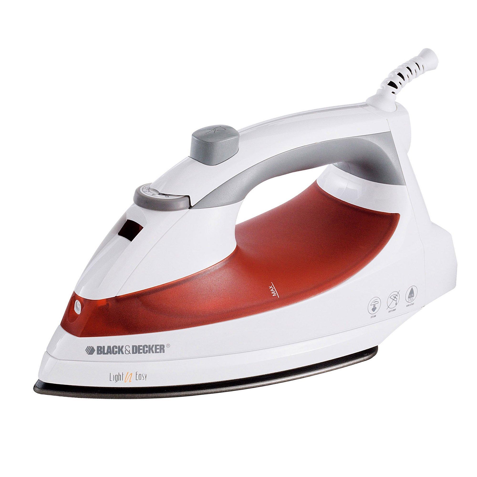 BLACK+DECKER F920 Light 'N Easy Compact Steam Iron, White/Red