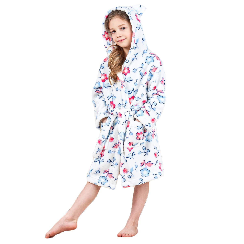 Boys & Girls Bathrobes, Plush Soft Coral Fleece Floral Hooded Sleepwear for Kids Size 7