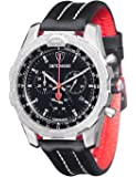 DETOMASO Men's Airbreaker Quartz Watch with Black Dial Analogue Display and Black Leather Bracelet DT-YG101-A
