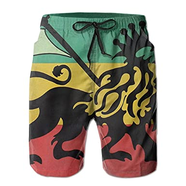 KLYDH Rasta Lion Thin Mens Boardshorts Youth Polo Hike Swim Trunks ...