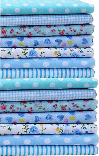 Quilt Fabric scrap piece quilting fabric 18 x 20 FQ  blue tones